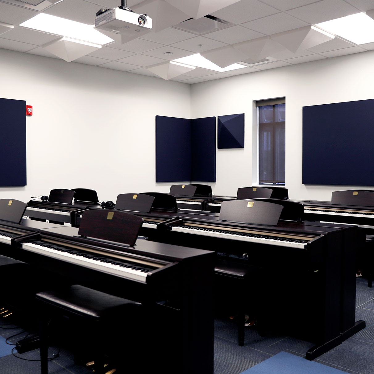 piano lab is filled with piano stations and sound proofing is on the walls