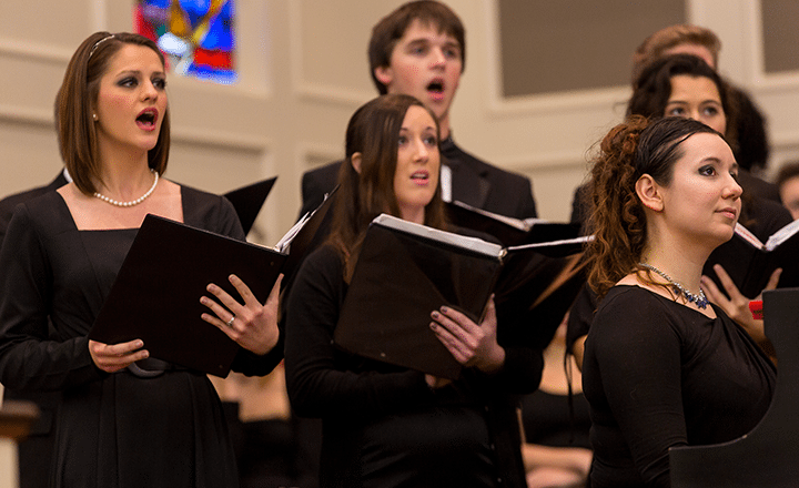 close up of chamber singers performing