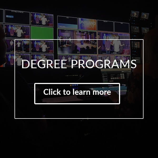 communication degree program has several screens with tv broadcasting displayed