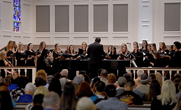concert choir performing in church
