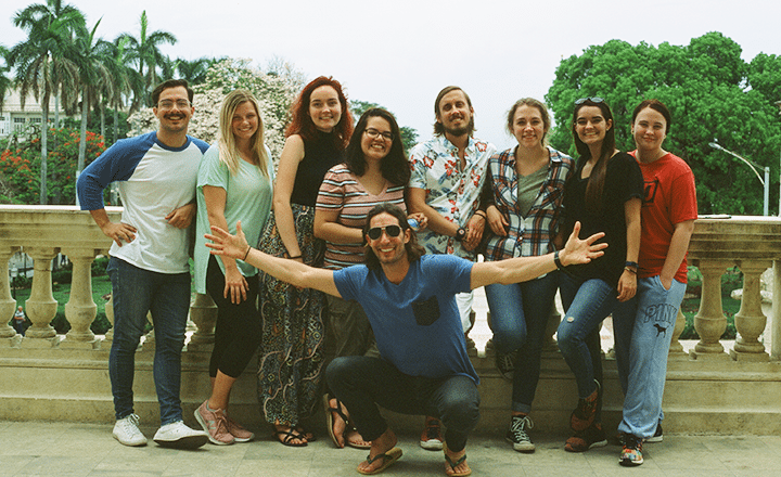 study abroad cuba summer program student all together on a balcony