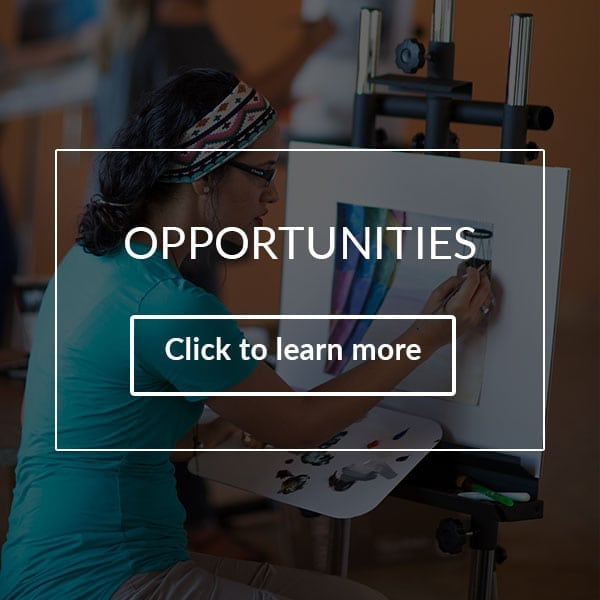 visual arts opportunities with young woman painting on art easel